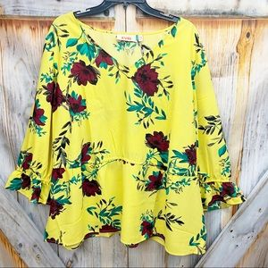 NWT EVRI Floral Long Sleeve Blouse